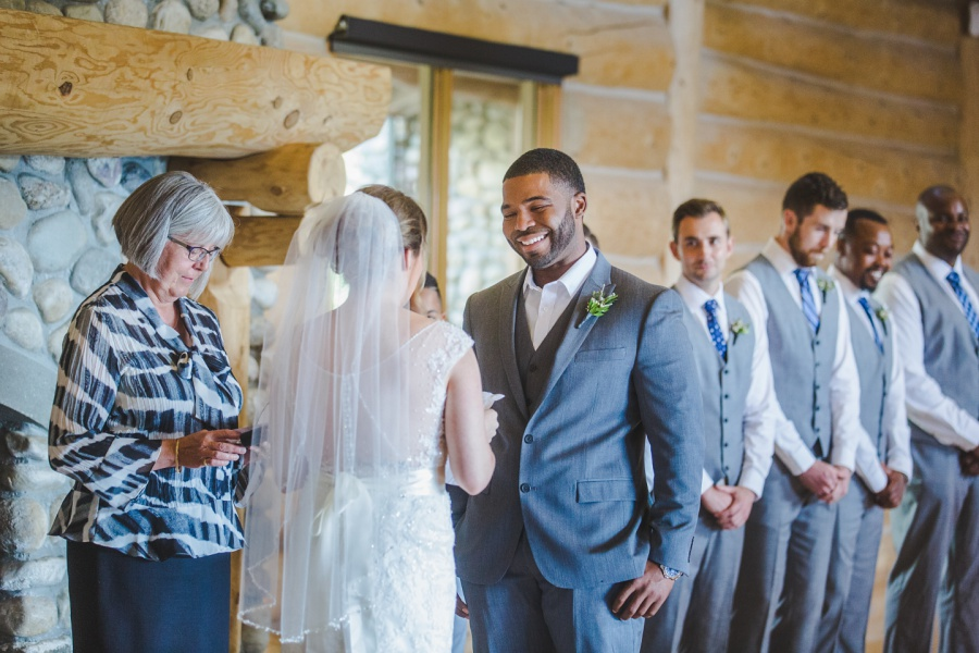 groom smiling personal vows cochrane ranchehouse wedding calgary