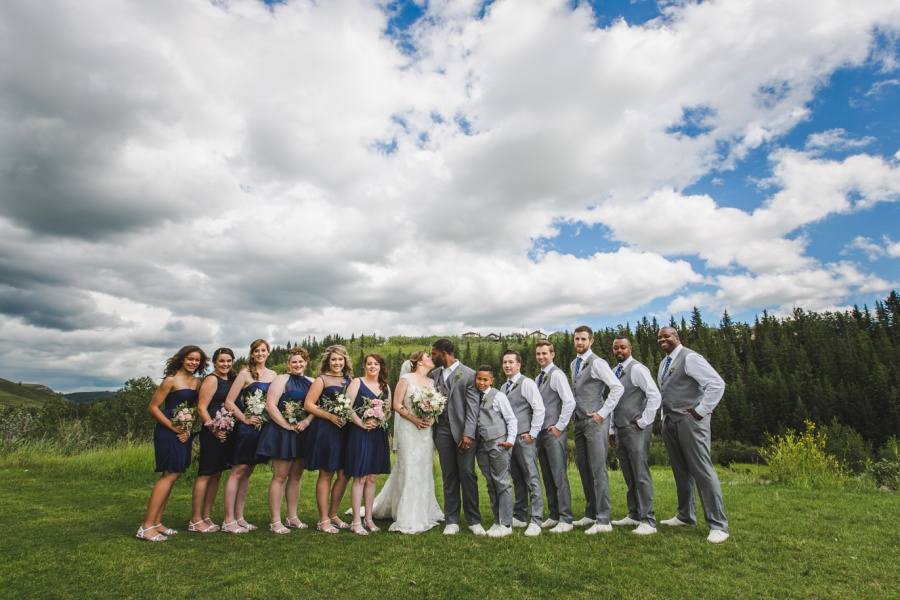 cochrane ranchehouse wedding calgary stormy skies bridal party