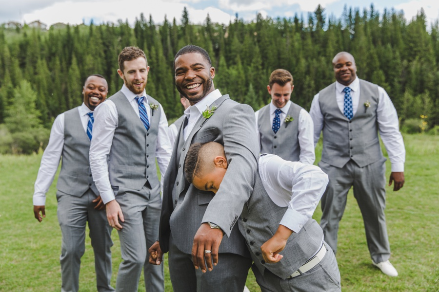 cochrane ranchehouse wedding calgary groom groomsmen blue ties grey suits