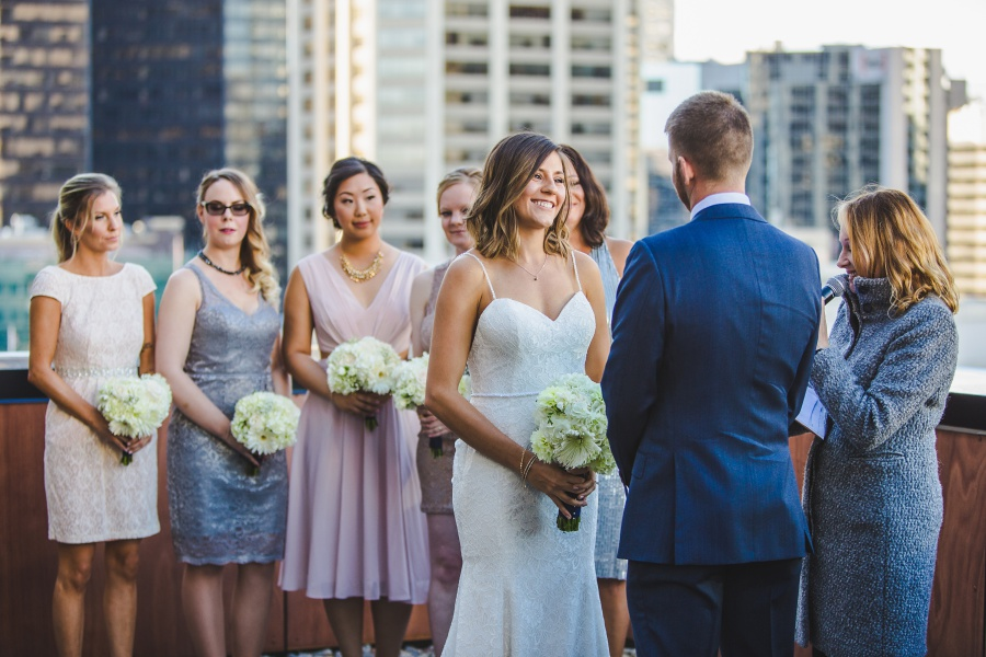 Le Germain Calgary Rooftop Wedding bride with white florals