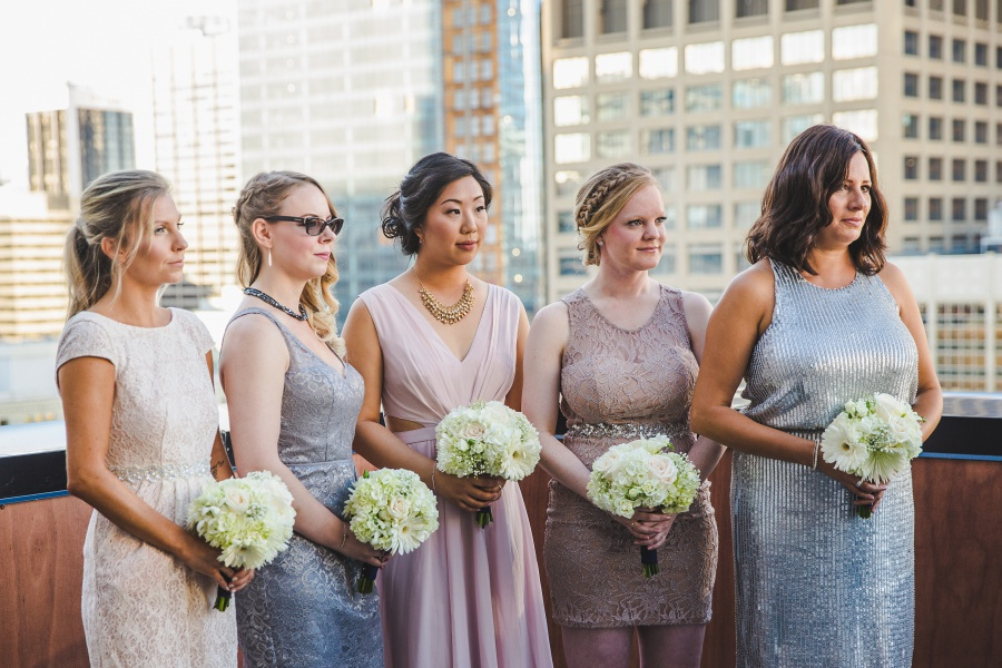 Le Germain Calgary Rooftop Wedding bridesmaids mismatched dresses