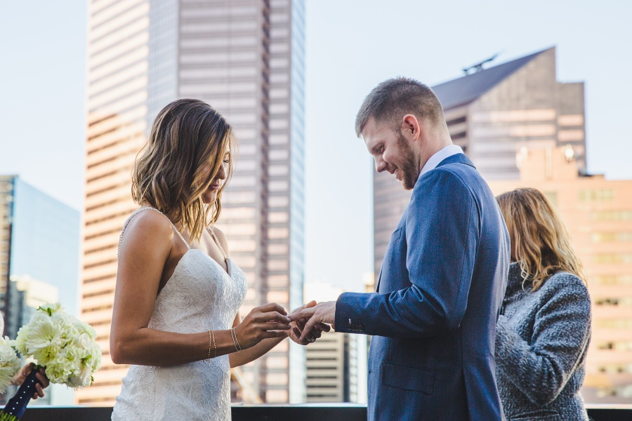 ring exchange Le Germain Calgary Rooftop Wedding