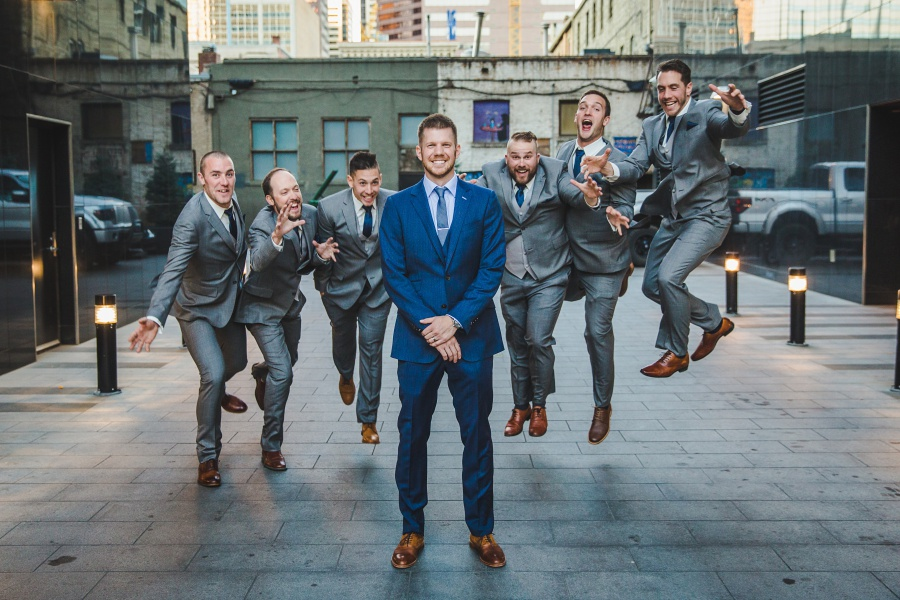 Le Germain Calgary Rooftop Wedding groom blue suit groomsmen brown shoes