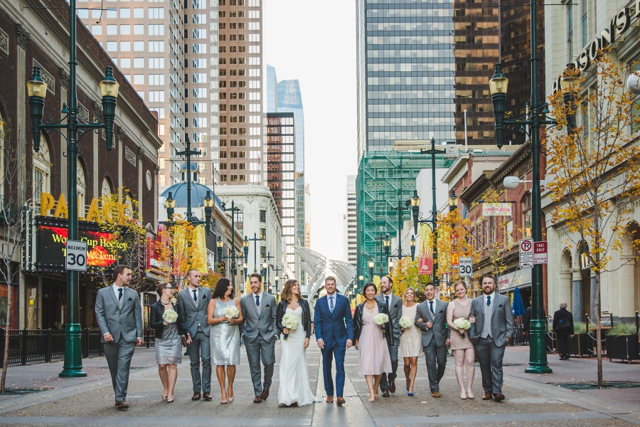 Le Germain Calgary Rooftop Wedding bridal party stephen ave urban