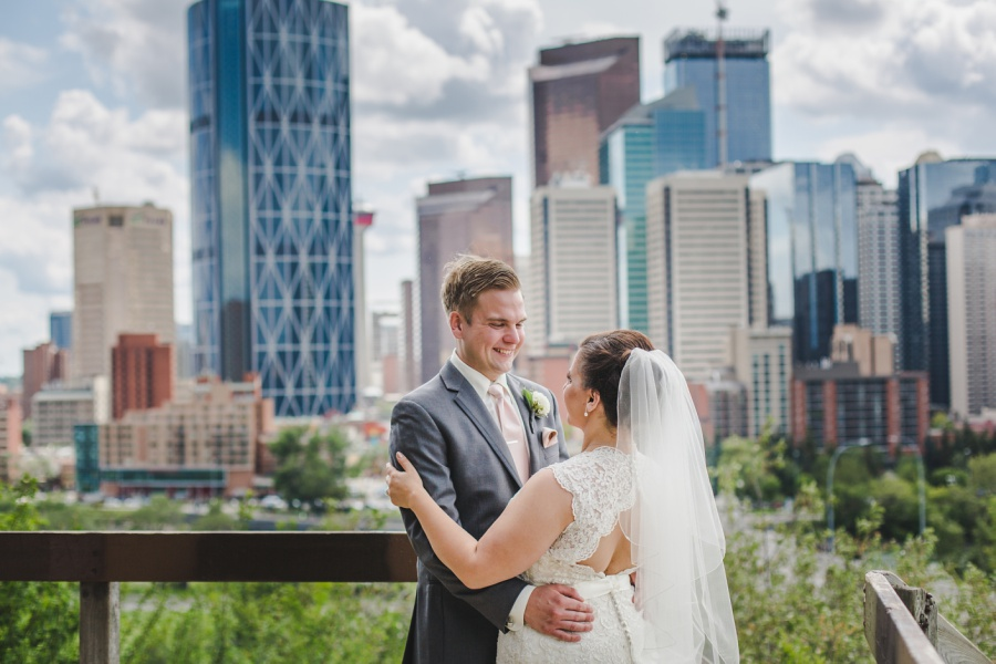 calgary rotary park wedding skyline downtown view bride groom