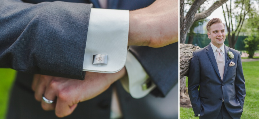 calgary rotary park wedding groom grey suit pink tie custom cufflinks