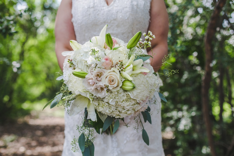 calgary rotary park wedding bride bouquet white roses lilies