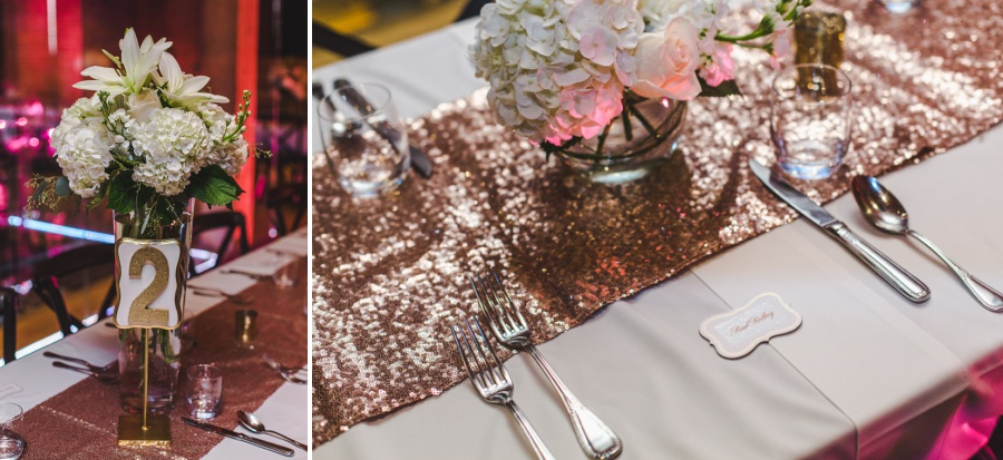 calgary charbar restaurant wedding table decorations rose gold sparkly