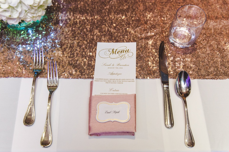 calgary charbar restaurant wedding rose gold table reception decor