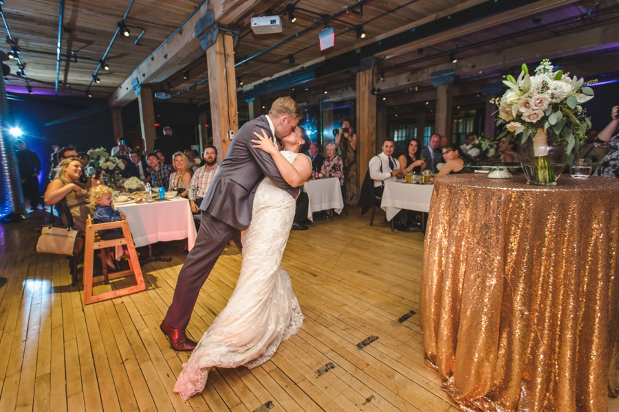 calgary charbar restaurant wedding rose gold first dance
