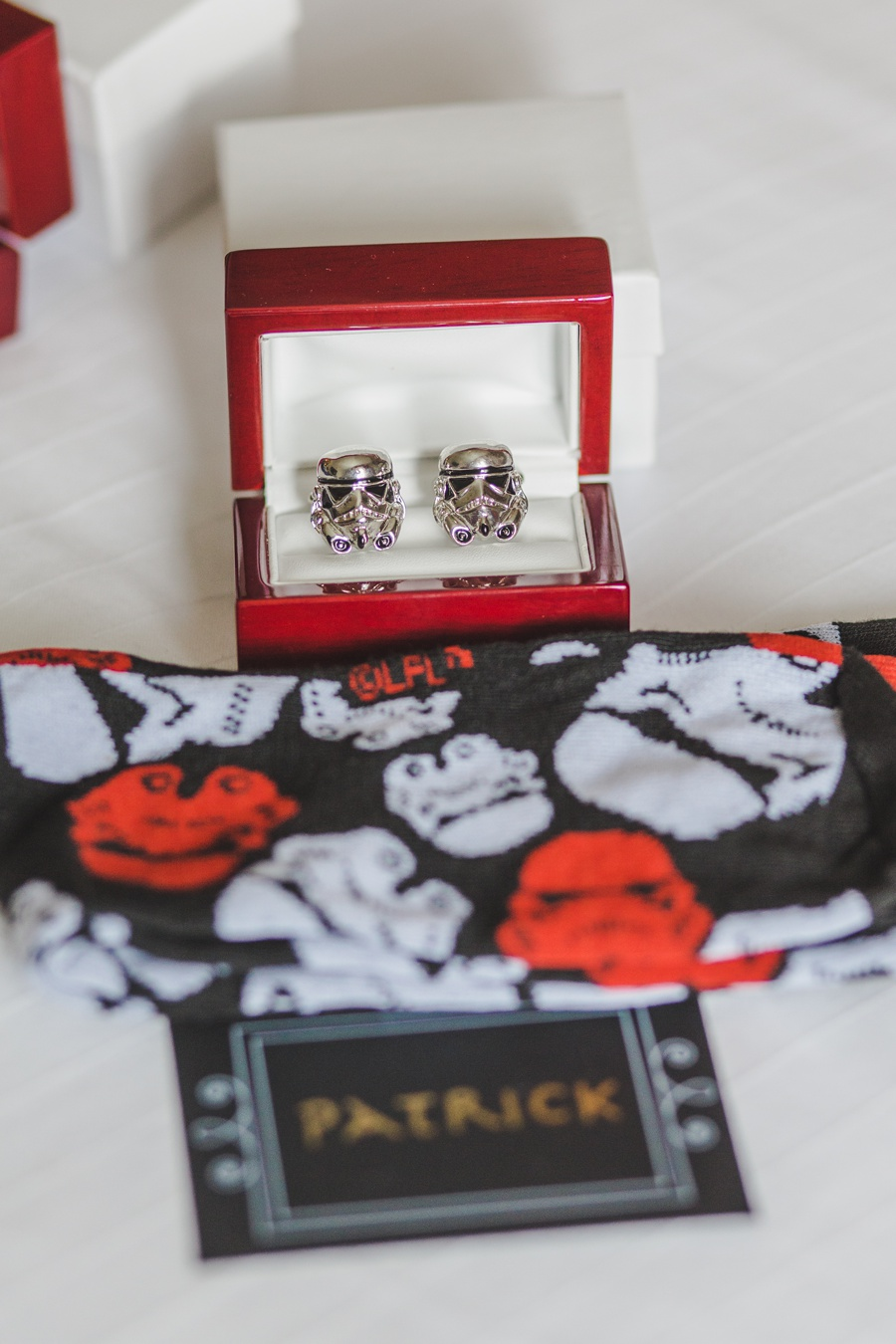 groom stormtrooper cufflinks geeky heritage park wedding calgary star wars