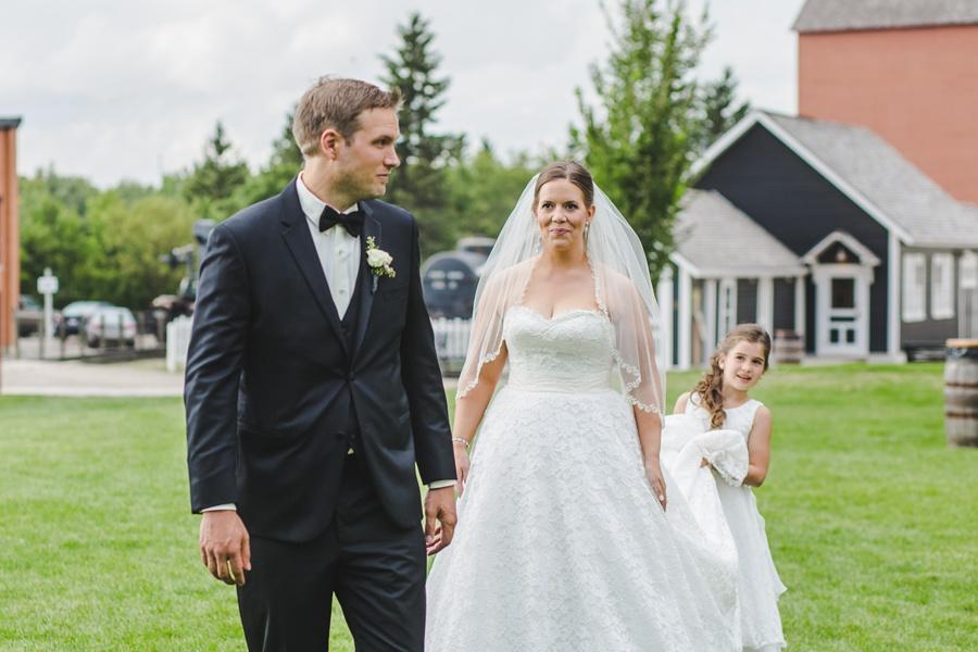 bride and groom first look geeky heritage park wedding calgary