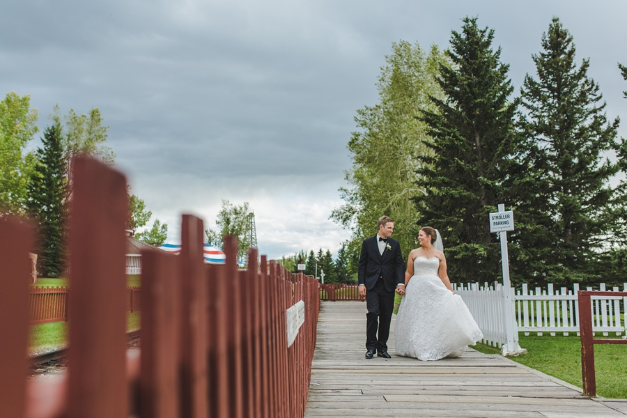 train station bride groom geeky heritage park wedding calgary