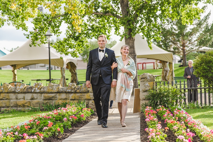 groom walking down aisle geeky heritage park wedding calgary