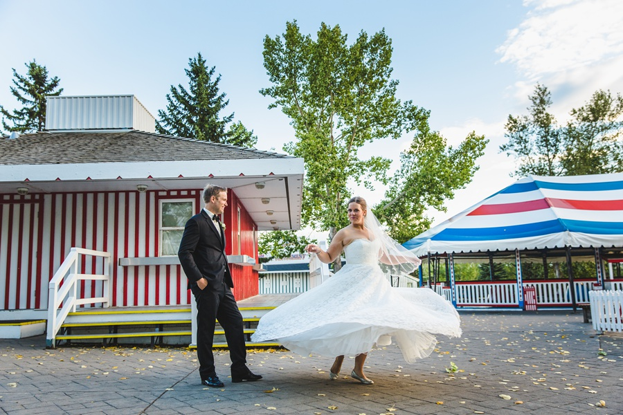 geeky heritage park wedding calgary bride twirls