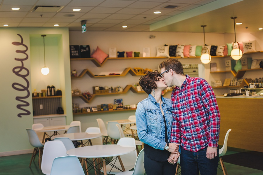 regal cat cafe calgary engagement wedding photographer