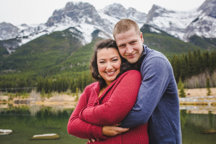 quarry lake canmore engagement photos late fall