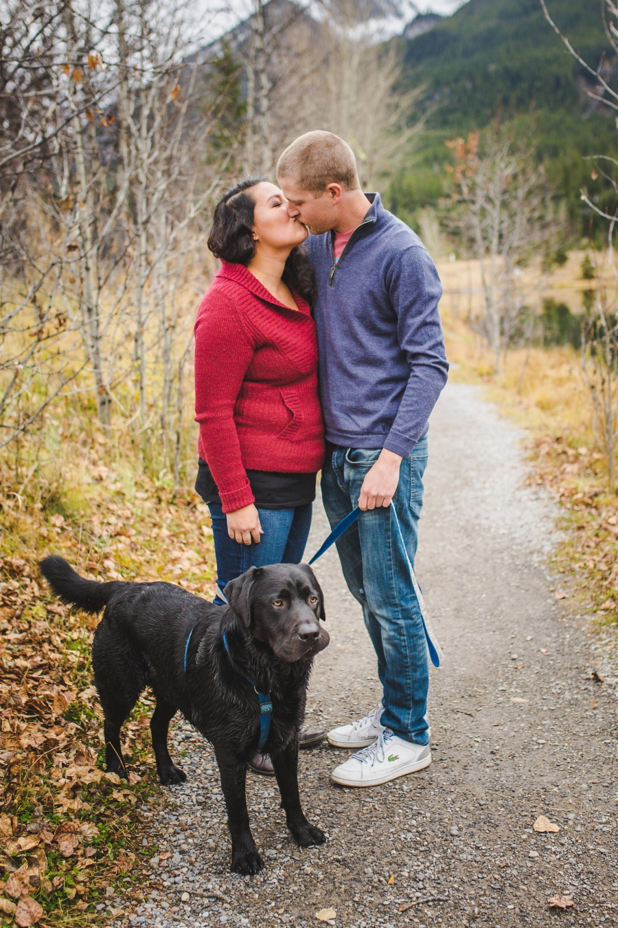 quarry lake canmore engagement photos cute couple chocolate lab