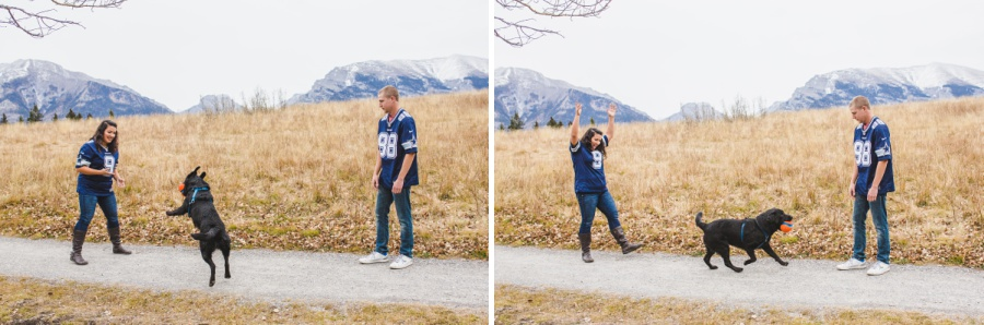 quarry lake canmore engagement photos dallas cowboys fans with dog