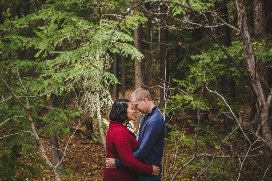 quarry lake canmore engagement photos forest