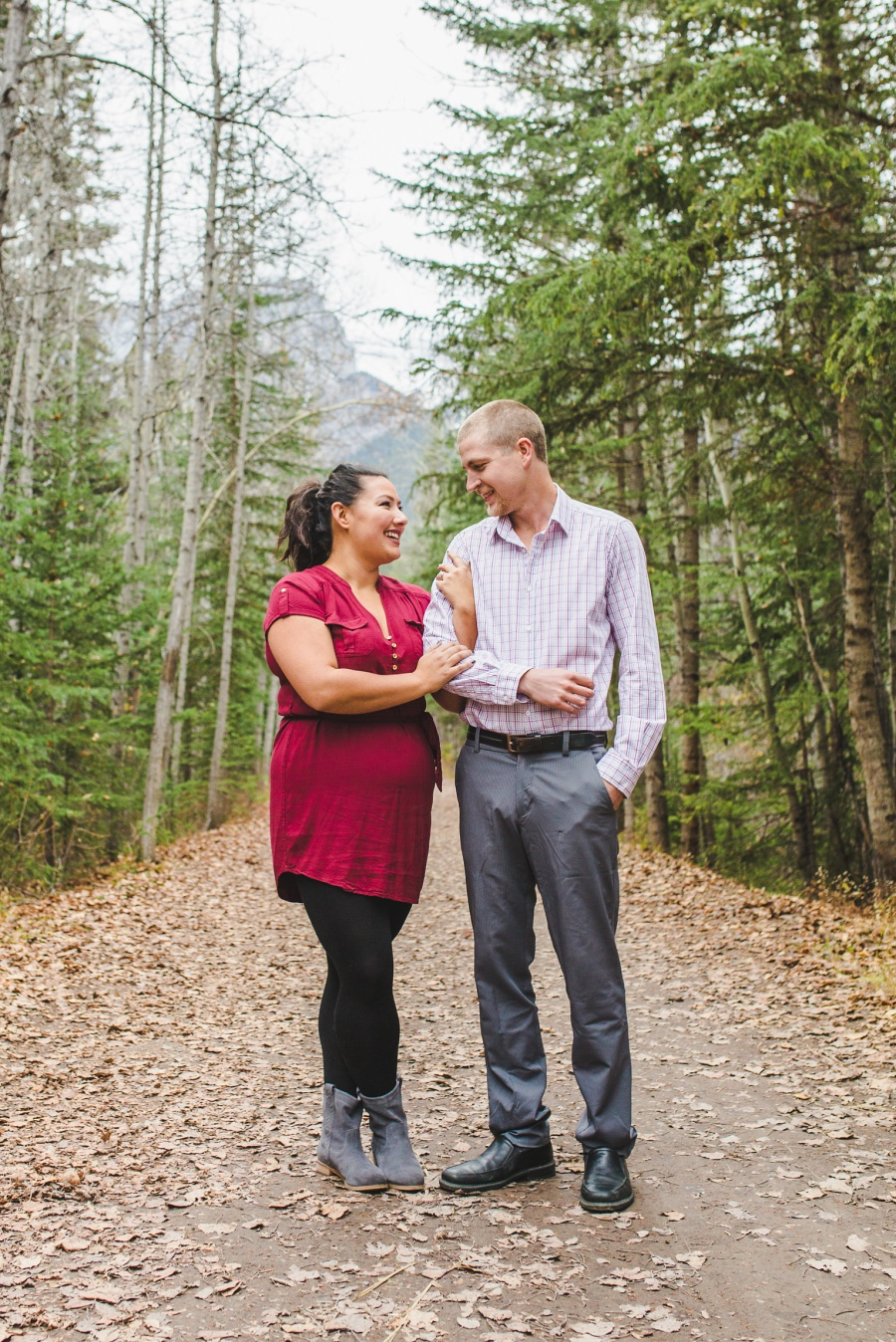engine bridge late fall engagement photos canmore
