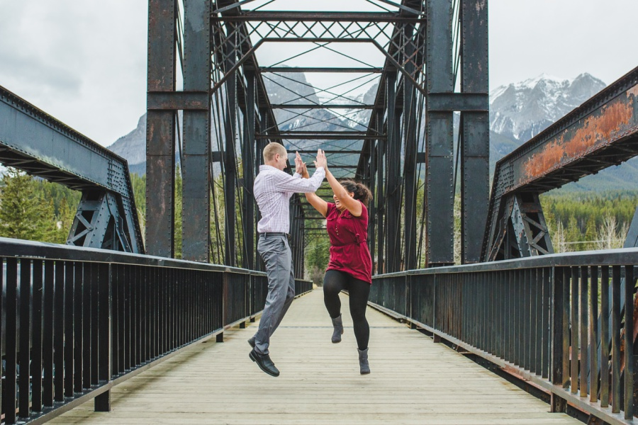 engine bridge late fall engagement photos canmore high five