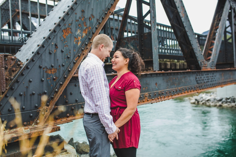 engine bridge late fall engagement photos canmore red top formal wear