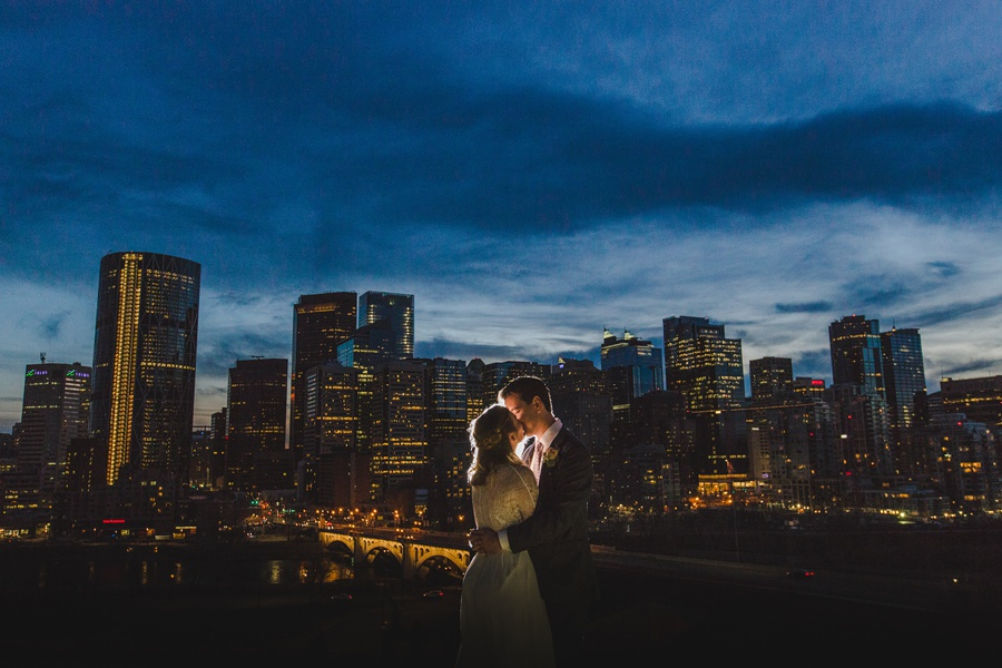 calgary wedding photographers winter wedding city skyview downtown view