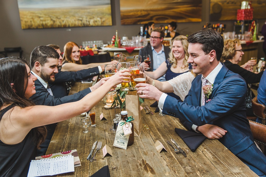 big rock brewery calgary wedding cheers groom bride