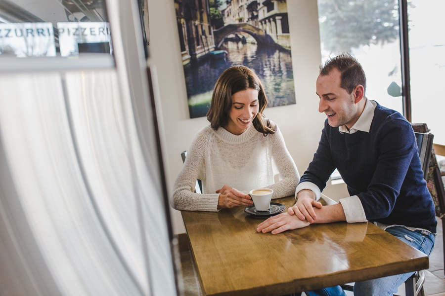 calgary azzurri pizzeria restaurant engagement photos cute couple coffee