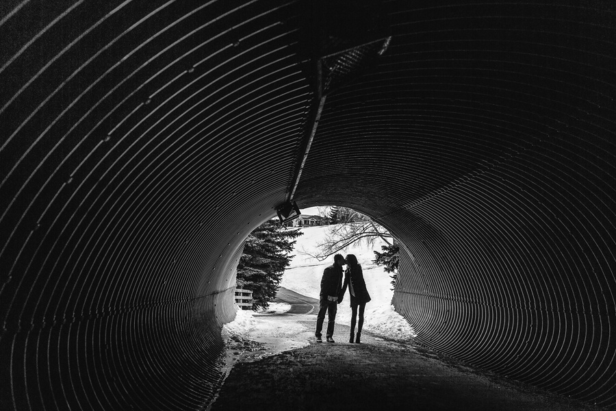 calgary confederation park engagement photos tunnel