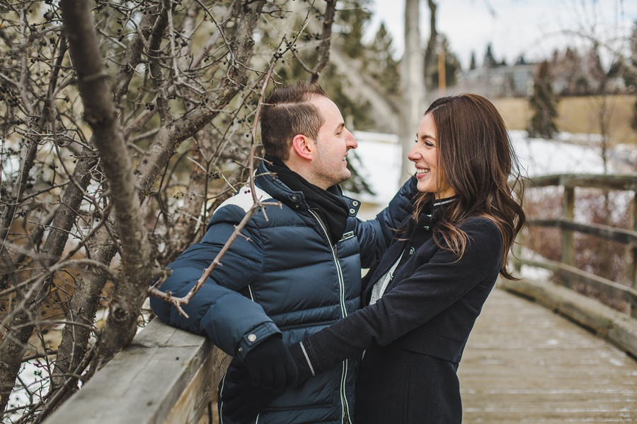 calgary confederation park engagement photos winter couple