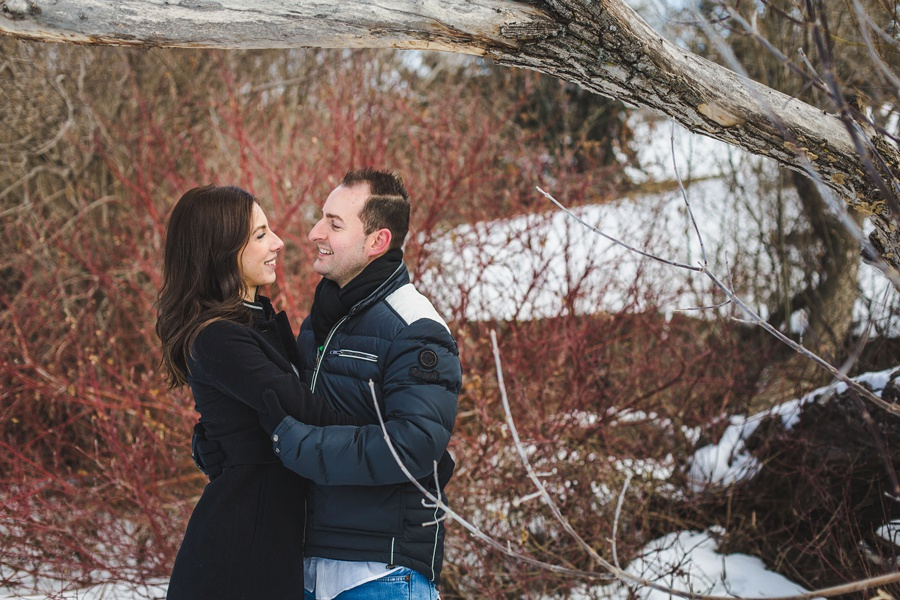 calgary confederation park engagement photos red dead tree couple