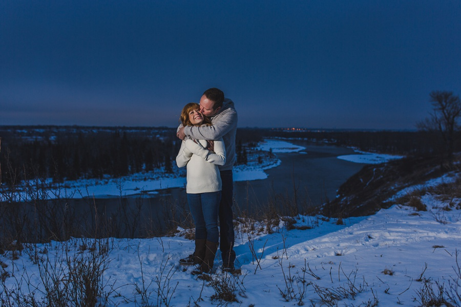 calgary winter engagement photos sunset dusk night time