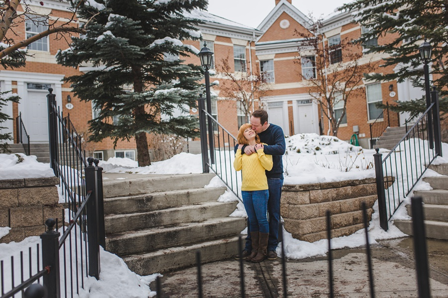 calgary winter engagement photos yellow sweater mckenzie towne