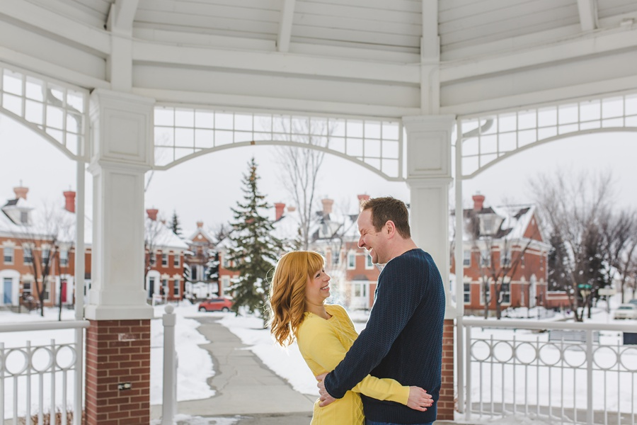 calgary winter engagement photos mckenzie towne white gazebo