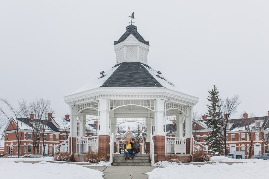 calgary winter engagement photos mckenzie towne white gazebo snow