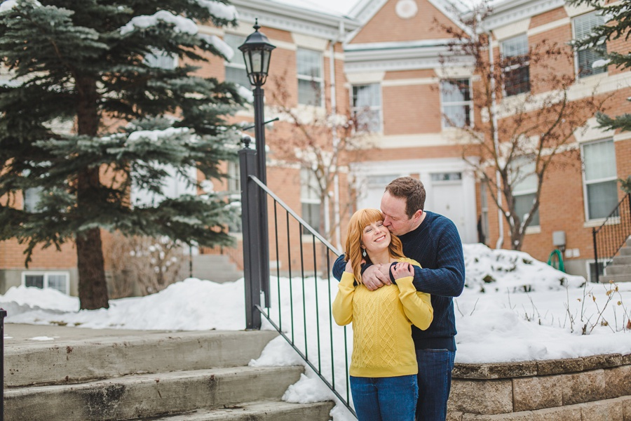 calgary winter engagement photos mckenzie towne cute couple yellow sweater