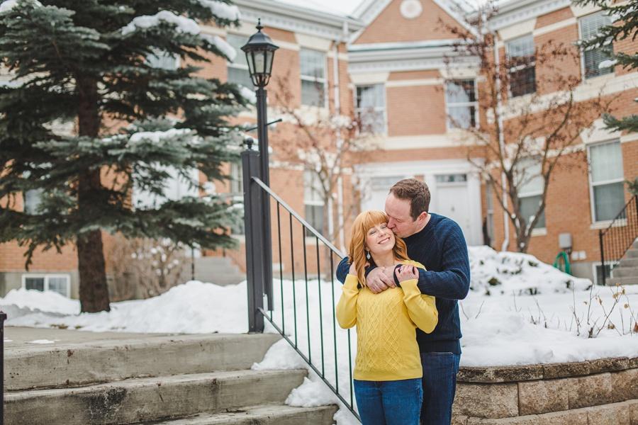 calgary winter engagement photos mckenzie towne cute couple yellow sweater