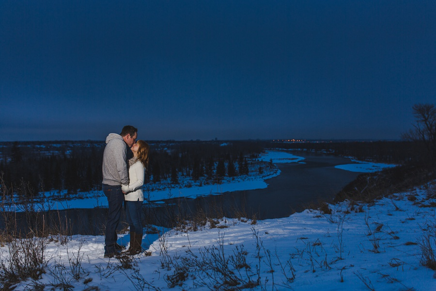 calgary winter engagement photos night time OCF snow dark dusk