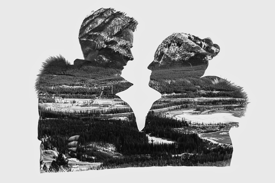 banff springs engagement photos double exposure black and white