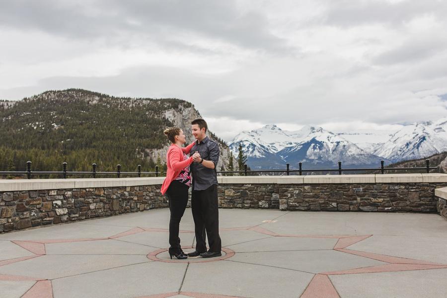 banff springs engagement photos couple dancing