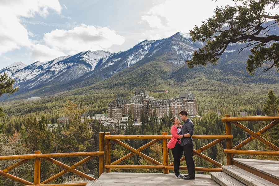 banff springs engagement photos surprise corner view