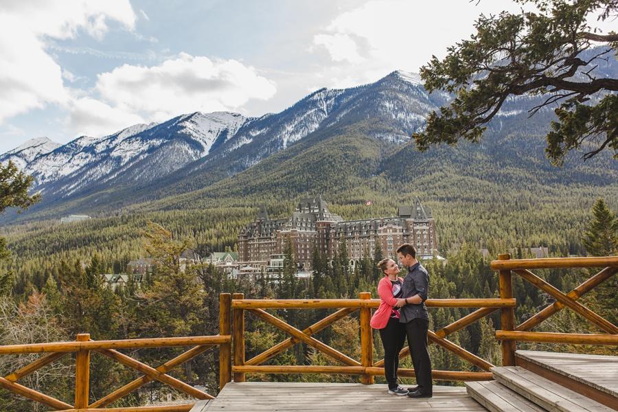 banff springs engagement photos surprise corner view