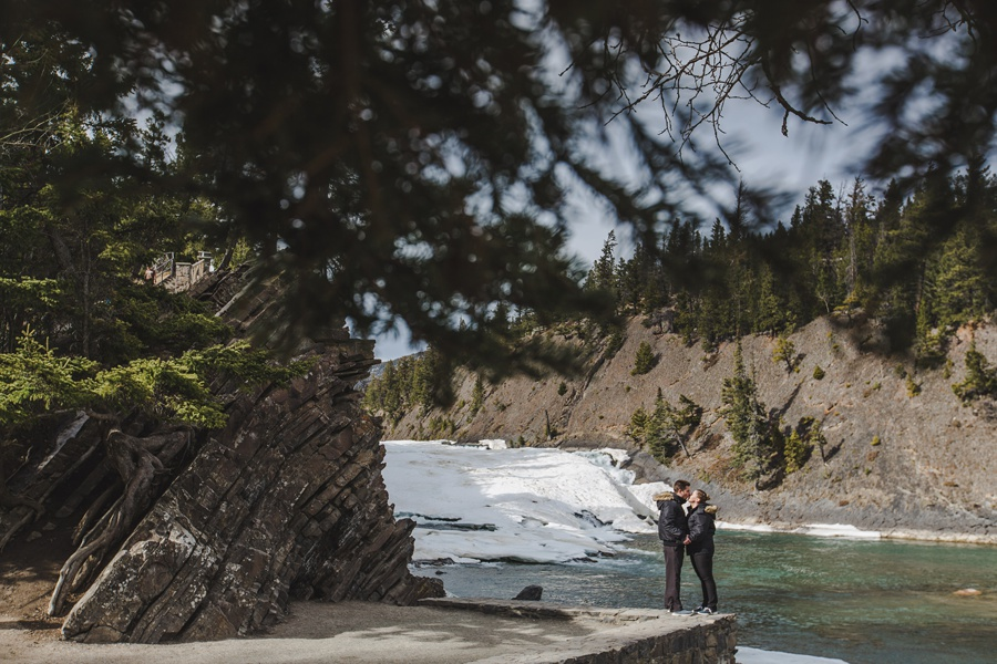 banff springs engagement photos bow falls