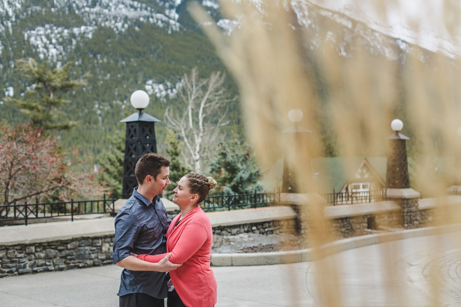 banff springs engagement photos mountain cute couple