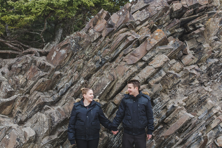banff springs engagement photos same jacket cute couple