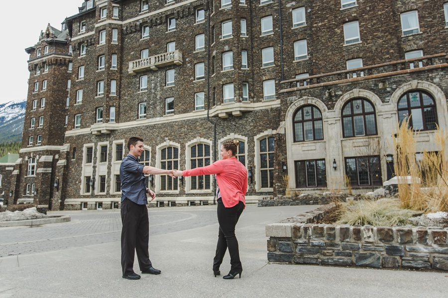 banff springs engagement photos couple dancing cute