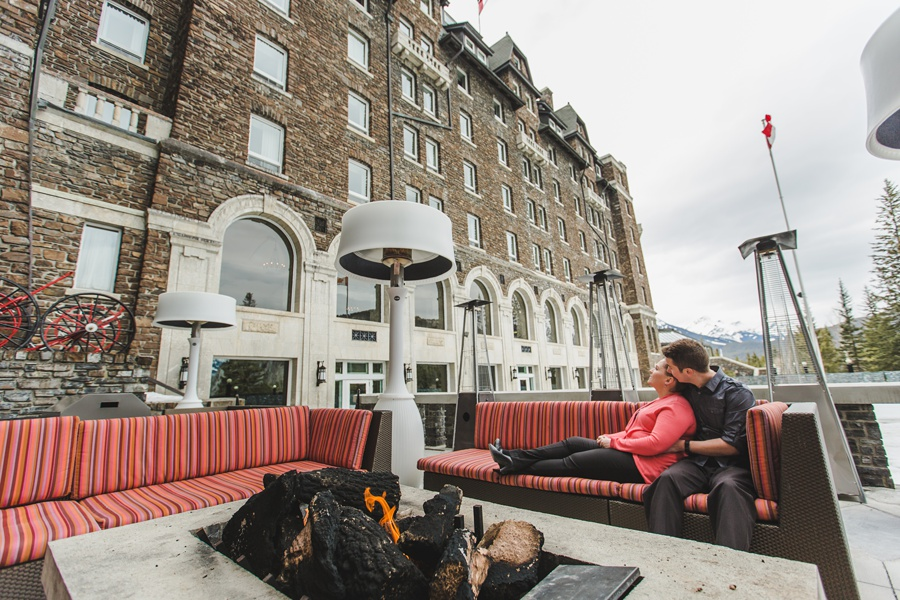 banff springs engagement photos patio fireplace