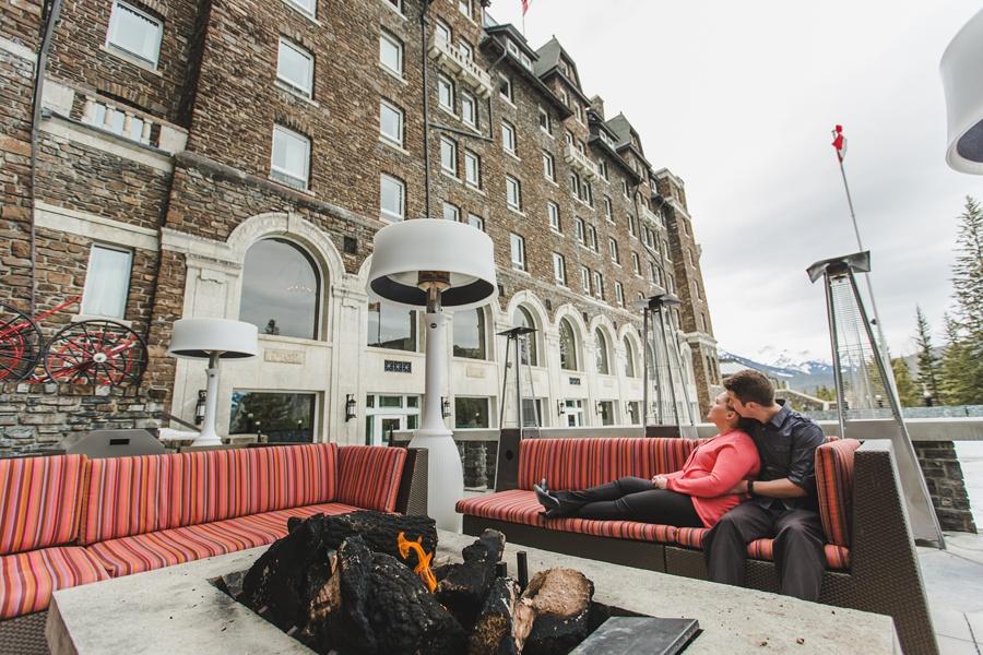 banff springs engagement photos patio fireplace